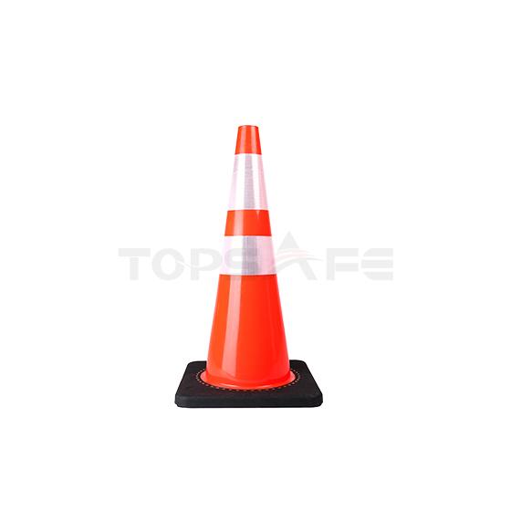 70cm Economic  Black Base Slim Body PVC Traffic Cones
